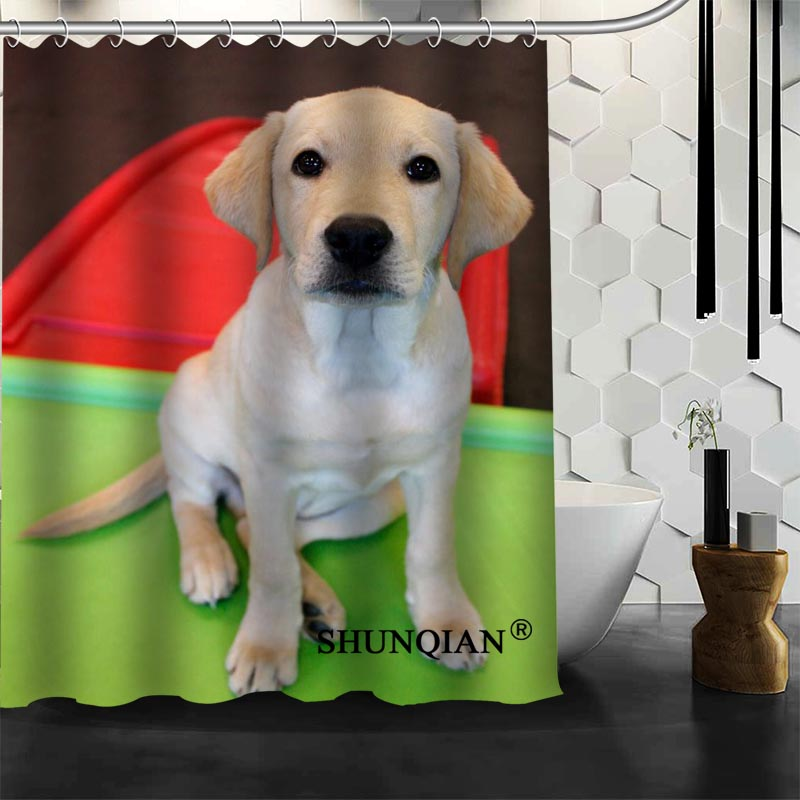 High Quality Custom Cute Dog Shower Curtain Polyester Fabric Bathroom Hooks Mildew Resistant Bath Decor In Curtains From