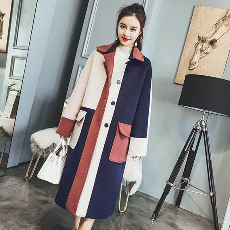 Lâche Outwear Stitching Manteau Coréenne Femmes 2018new Moyen Color Chaud Femme Odfvebx Printemps Étudiants Longues Marée Mode Laine De Automne WqTTY6H