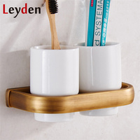 Leyden Modern Double Cup & Tumbler Holders ORB/ Antique Brass/ Gold/ Chrome Wall Mounted Toothbrush Holders Bathroom Accessory