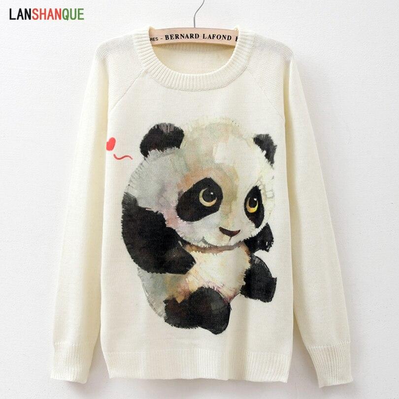 2018 Herbst Winter Pullover Mujer Langarm Frauen Pullover Gestrickte Top Beiläufige Dünne Panda Print Pullover Stricken Herbst Weibliche Pullover Direktverkaufspreis