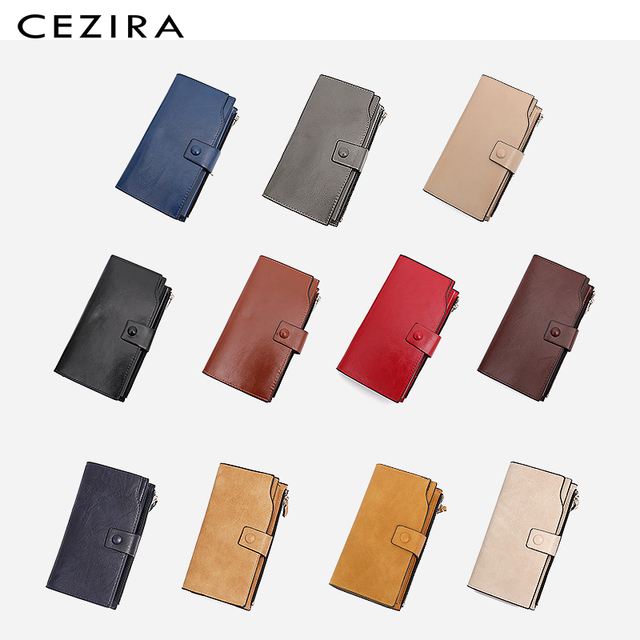 CEZIRA Large Capacity Women Big Wallet Female Cards Holder Multi Function Long Wallet Coin Pocket PU Leather Lady Clutch Purse 2