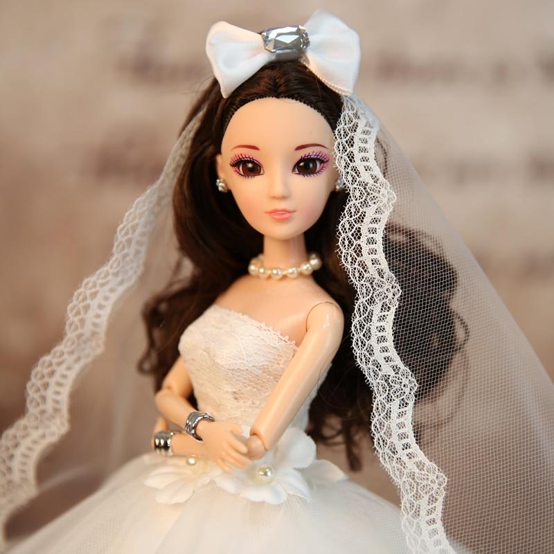 Free shipping Doll + Wedding Dress /100% Handmade Luxury Crystal Bride Wedding Doll Big Trailing Evening Gown for barbie gift doll wedding dress 100% handmade warm red luxury crystal bride wedding doll big trailing evening gown for barbie doll