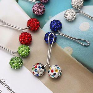 Image 1 - 12Pcs Muslim Hijab Scarf Safety Pin Clips Rhinestone Ball Brooch Fashion Jewelry