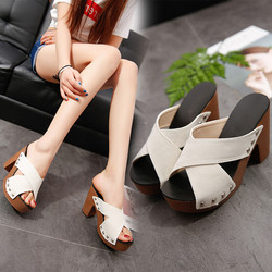 2018 New Women Fashion Shoes Women Cross Strap Chunky Heel Sandal Thick High-Heeled Flip Flop Open Toe Sandal Platform 4