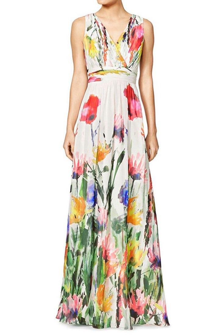 Floral print v neck maxi dress online prom