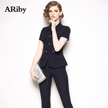 ARiby Women Two Piece Set 2019 Spring Autumn Office Lady Temperament Business Short Sleeve Top+nine Point Pant Professional Suit