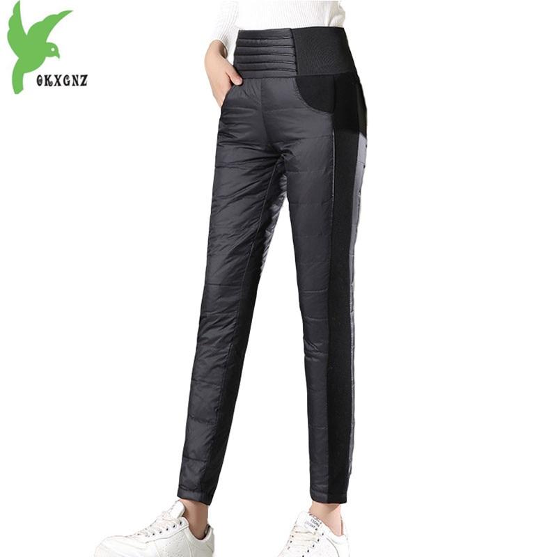 D'hiver coton pantalon femmes 2018 Crayon taille haute pantalon de haute qualité taille Élastique pantalon En Coton Épais chaud Plus size1942
