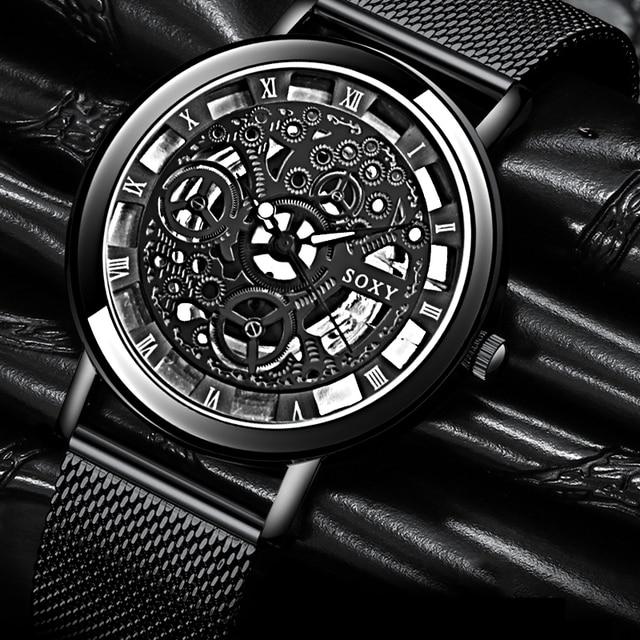 Fashion SOXY Watch Silver & Golden Luxury Hollow Steel Watches Men Women Unisex Hombre Quartz Wrist watch Clock Retro Relogio 1