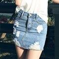 Azul claro Short Denim falda 2016 alta calidad del agujero rasgado faldas mujeres algodón vaqueros azul falda lápiz de cintura alta falda de la cadera