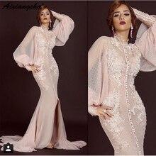 Pink Long Sleeves Muslim Evening Dresses Mermaid Split Tulle Lace Islamic Dubai Saudi Arabic Long Evening Gown Prom Dress