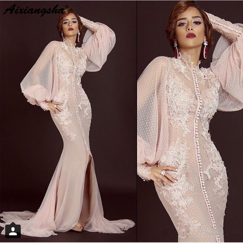 Pink Long Sleeves Muslim   Evening     Dresses   2019 Mermaid Slit Tulle Lace Islamic Dubai Saudi Arabic Long   Evening   Gown Prom   Dress