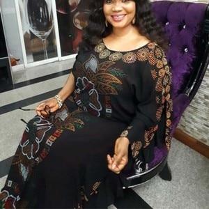 Image 1 - Afrikaanse Jurken Voor Vrouwen 2019 Herfst Dashiki Diamanten Afrikaanse Kleding Bazin Broder Riche Sexy Slim Robe Avond Lange Jurk