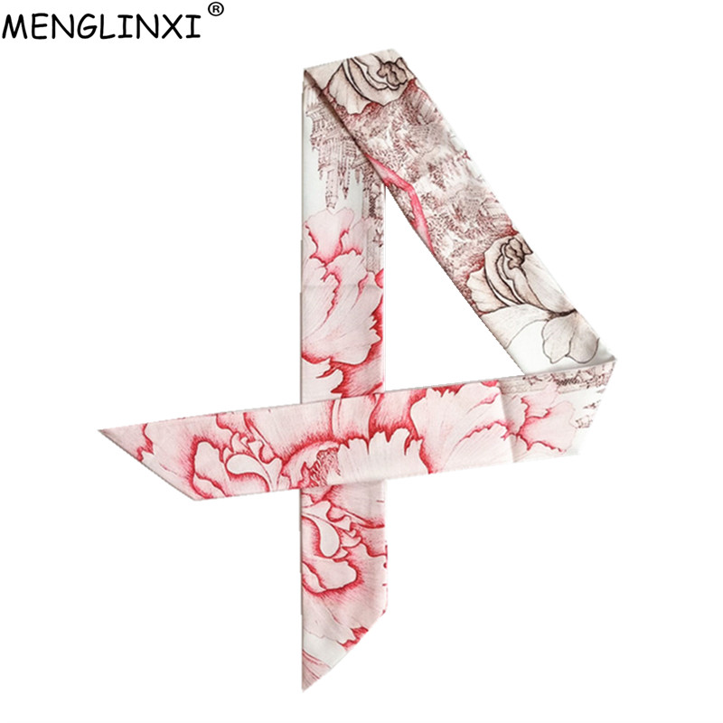 Hot Brand Peony Flower Skinny Scarf 2020 New Silk Bag Scarf For Women Female Neckerchief Head Scarves & Wraps For Ladies