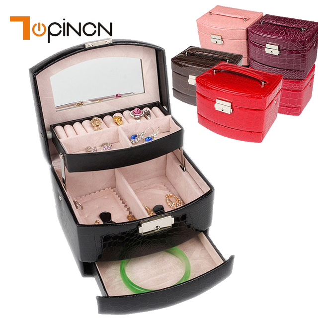 5b877cc12e04 US $12.72 45% OFF|3 Layers Jewelry Boxes And Packaging Leather Makeup  Organizer Storage Box Container Case Gift Box Women Cosmetic Casket-in  Storage ...