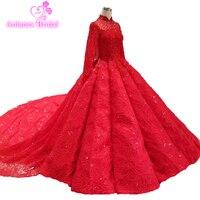 Long Sleeve Lace Wedding Dress With Long Tail 2019 Bride Plus Size Red Bridal Gown Real Photo Weddingdress Vestido De Noiva Boho
