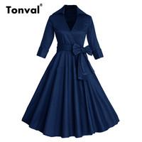 Tonval Autumn Rockabilly 50s Women Dresses Retro Audrey Hepburn Vintage Winter Dress Elegant Christmas Midi Dress