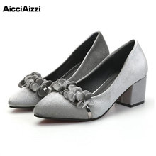 Women Pumps Trend Fashion Spring Shoes Women Vintage Style Flock Solid Color Confortable Shoes Pointed Toe