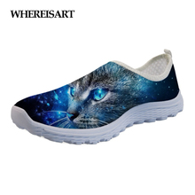 WHEREISART Galaxy Cat Cute Women Casual Shoes Flats Sneakers Summer Light Mesh Ladies Loafers Woman Slip-On Zapatos Mujer
