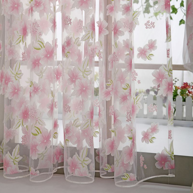 Sheer Voile Tulle Window Tulle Curtains Bedroom Living Room Balcony Flowers Printed Tulip Sun-shading Translucent Curtain
