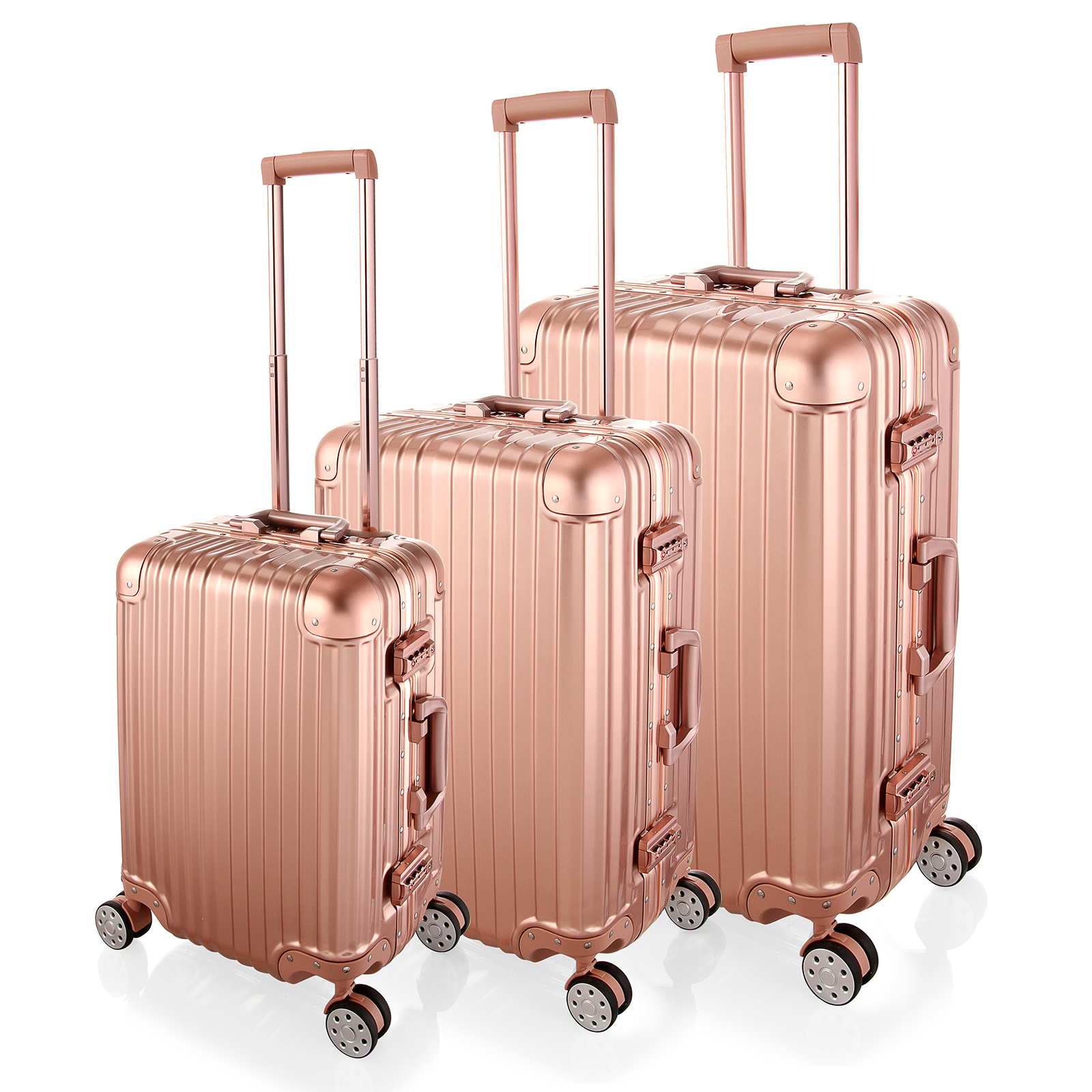20/24/28 inch Luxury Rose Gold Rolling Luggage 4 Wheels Spinner Suitcase Aluminum Frame Luggage PC Trolley Case|Rolling Luggage| |  - title=