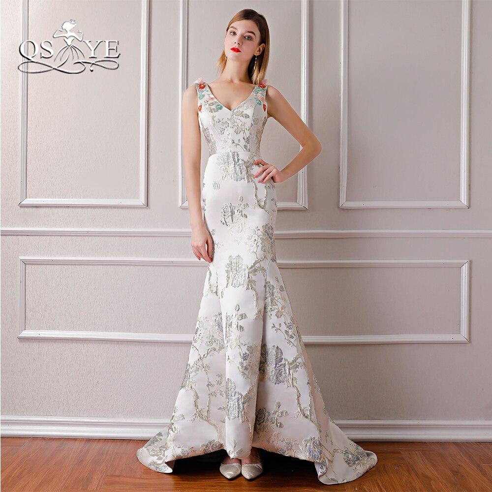 QSYYE 2018 New Fashion Sexy Mermaid Formal Evening Dresses V Neck 3D Embroidery Flowers Long Prom Dress Robe de Soiree
