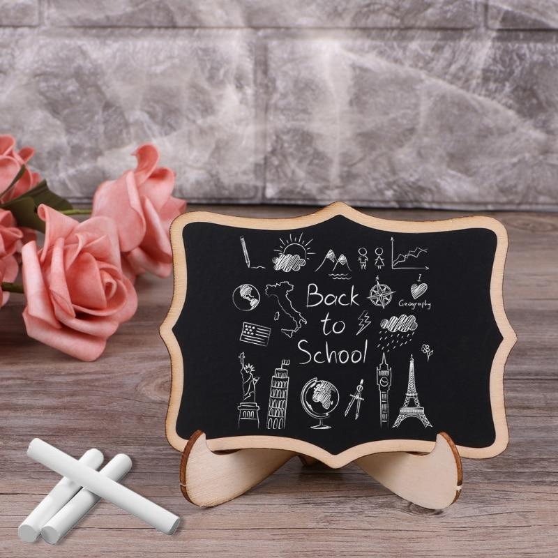 20 Pcs Mini Houten Bord Met Verwijderbare Stand Schoolbord Message Boards Teken Tafel Memo Wedding Party Supply