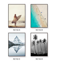 Nordic Minimalism Sea Beach Figure Tree Landscape Painting Canvas Print Poster Wall Photo For Living Room Decor No Frame(China)