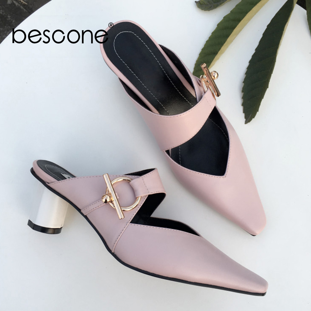 BESCONE Elegant Mules 5cm Round Heels Square Toe Metal Decoration Mules High Quality Cow Leather Kid