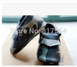 Nuevo Cuero Genuino Mocasines Bebé Del grano Del Leopardo de Camuflaje franja suave Zapatos de Bebé Primer Caminante zapatos Chaussure Bebe recién nacido