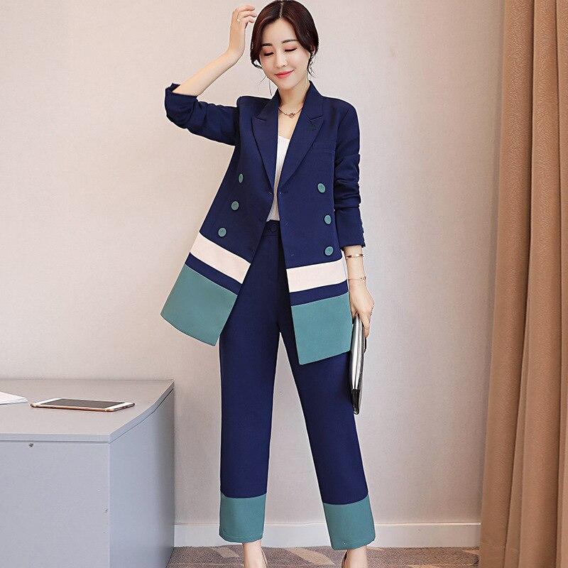 Femmes Style Coréenne 1 2018 Jambe Boutonnage 2 Pantalon Pièce longueur Blazer Double Large Set Wear Rayé Bureau Costumes Work À Et Cheville qPdnwp5d