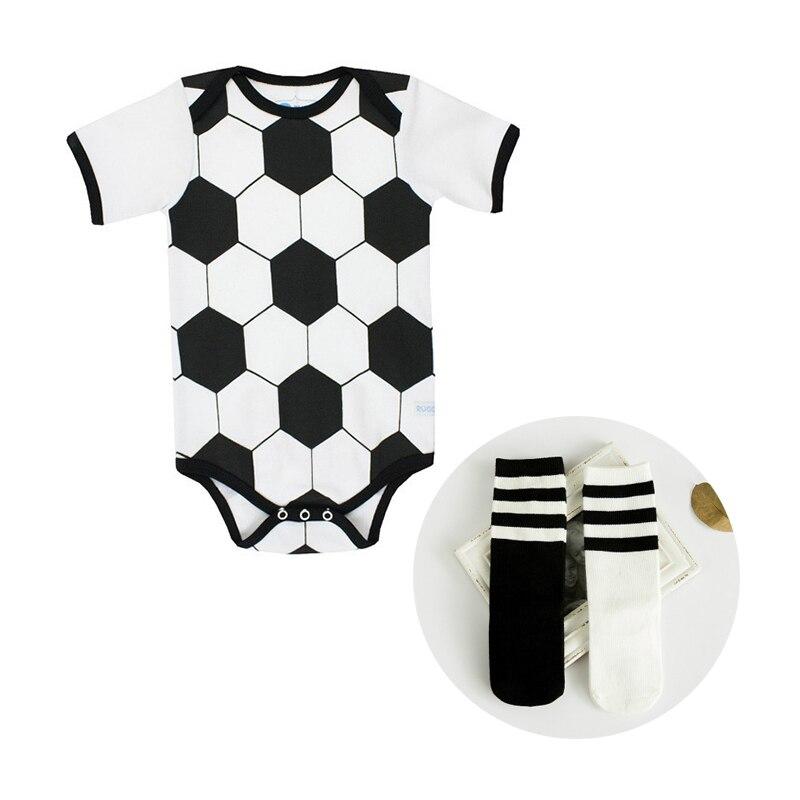 Toddle Baby Sport Romper Jumpsuit Փափուկ Ֆուտբոլային Ֆուտբոլային նմուշներ ՝ գուլպաներով Ակտիվ նորածին մանկական եռանկյունի Romper հագուստը հավաքում է