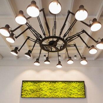 Amerykańska osobowość twórcza retro pająk żyrandol chowany żelaza biuro sklep odzieżowy cafe salon restauracja led