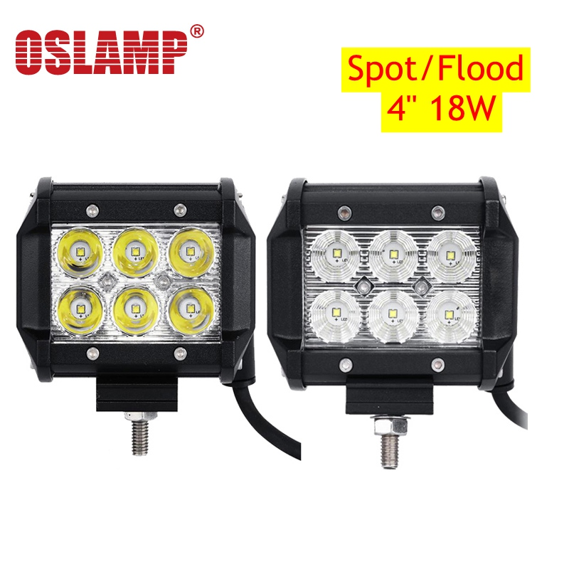 Oslamp 2pcs Work Light 4 18W Flood Spot Beam LED Bar Offroad 12V 24V 4x4 4WD LED Fog Lamp Truck Motorcycle Tractor Lamp RZR Van 5d cree 60w 7 spot flood beam led work light bar 12v offroad 24v 4x4 4wd rzr led fog lamp atv utv trailer truck camper tractor