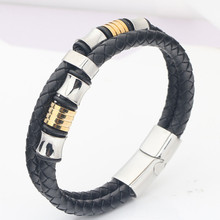 цена на Braided Leather Bracelets Man silver Stainless Steel Clasp Bracelets Bangles Black Double Layer Rope Chain Punk Wristband