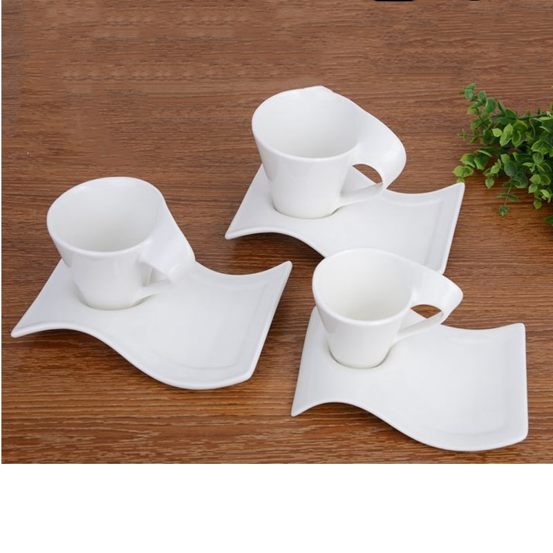 wave bone china ceramic cup white coffee cappuccino milk tea cup saucer and spoon set creative gift-in Mugs from Home u0026 Garden on Aliexpress.com | Alibaba ...  sc 1 st  AliExpress.com & wave bone china ceramic cup white coffee cappuccino milk tea cup ...