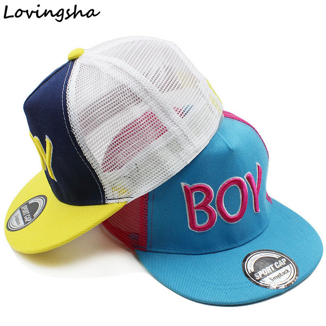 LOVINGSHA Boy Baseball Caps Net Cap Letter Design 3-8 Years Old Kid Snapback Caps High Quality Adjustable Cap For Girl CC120