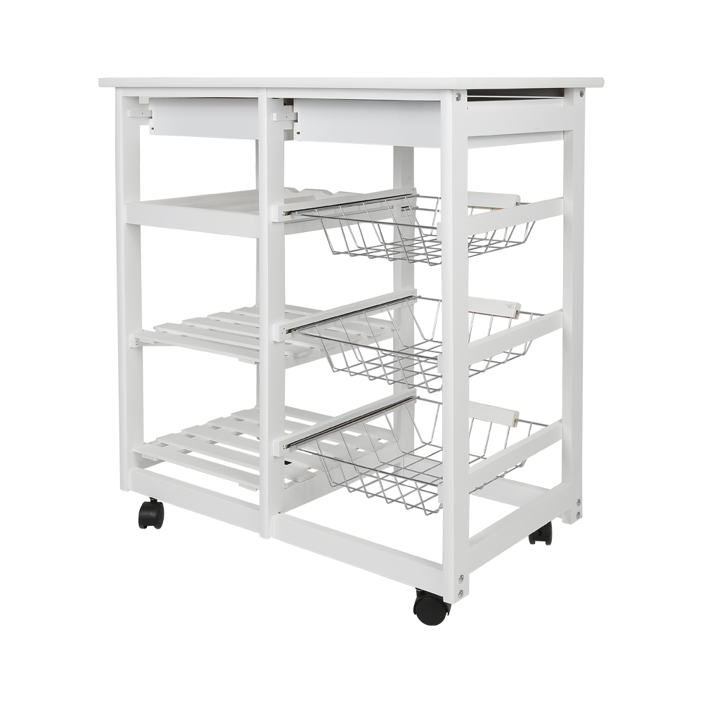 New Arrival White Kitchen Trolley Cart Dining Shelf Island with Wine Rack Basket