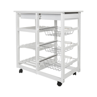 New Arrival White Kitchen Trolley Cart Dining Shelf Island with Wine Rack Basket Storage Drawers Moveable Home Furniture HWC
