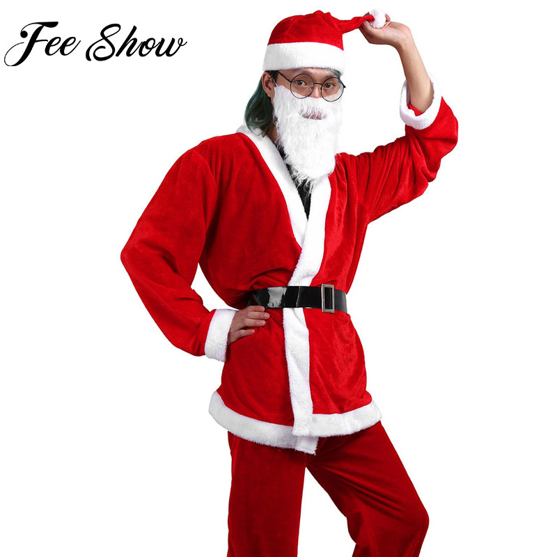Feeshow Adult Men Red Christmas Santa Claus Costume Suit Soft Velvet Xmas Long Beard Fancy Dress Up Cosplay Set