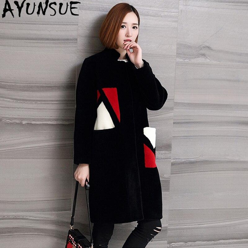 AYUNSUE Sheep Shearing Wool Coat Female Fur Coat Natural Fur Autumn and Winter Jacket Women Korean Clothing Chaqueta Mujer KJ544