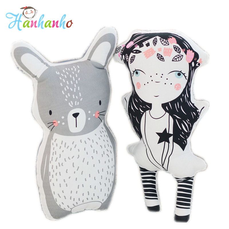 INS Hot Girl Doll&Rabbit Cartoon Cushion Baby Cotton Pillow High Quality Kids Toy Children Bedroom Decor ins hot swan soft toy cute ballerina moon cushion pink home sofa decoration pillow baby appease music doll kidstoy gift for girl