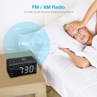 Radio Alarm Clock, Fm Am Radio With 2 Alarm Clock And Big Screen Adjustable Light Number Night Vision Clock Thermometer Europe