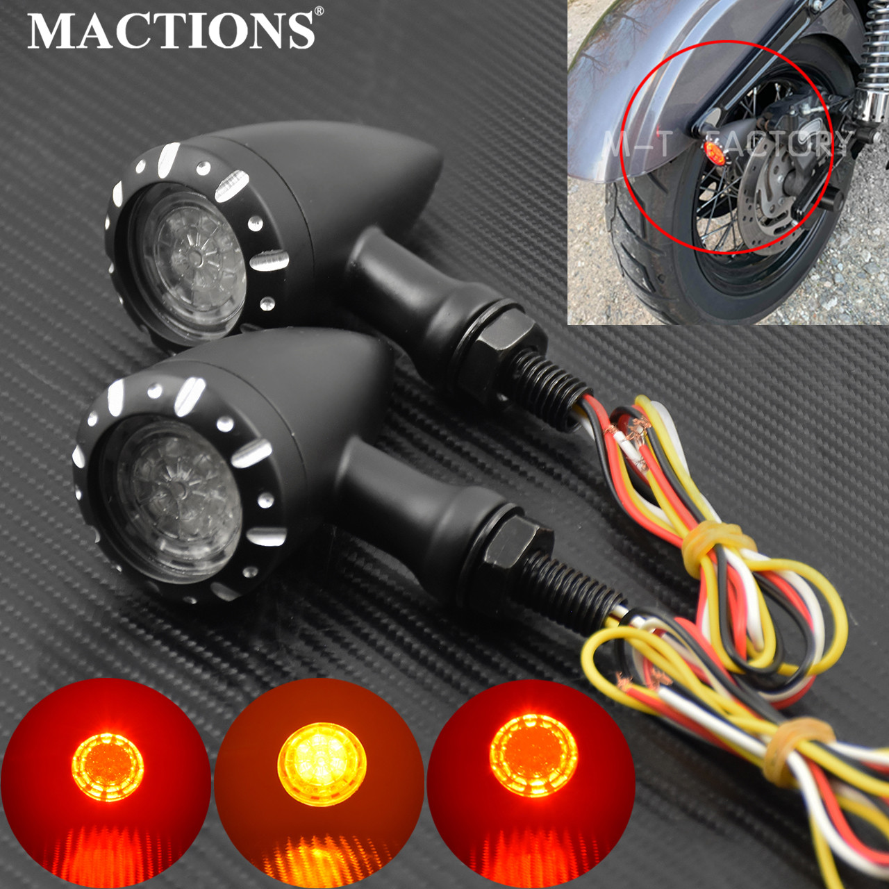 Motorcycle 1 Pair 10mm Black LED Brake Blinker Light Turn Signal Flashing For Harley Cruiser Chopper Indicator Lights