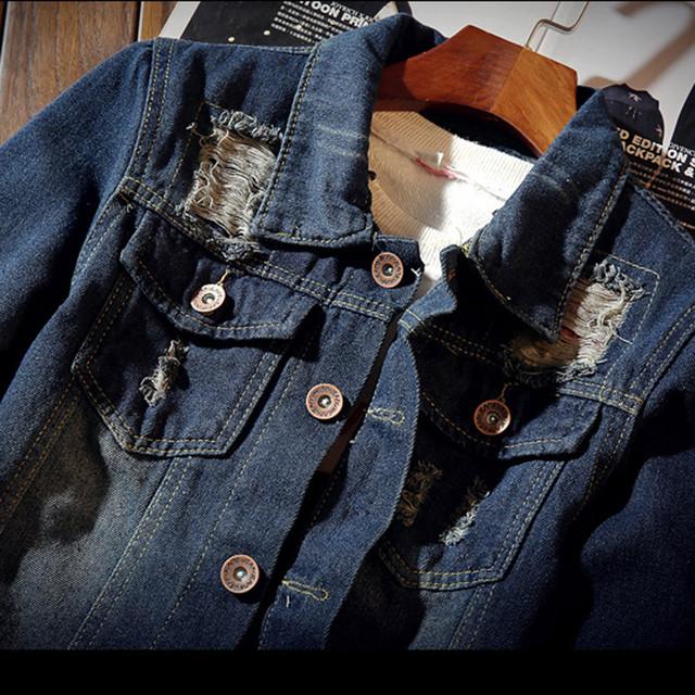 FeiTong Winter Jacket Men Streetwear Mens Clothing Casual Vintage Wash Distressed Denim Top Blouse Jacket Male Hip Hop