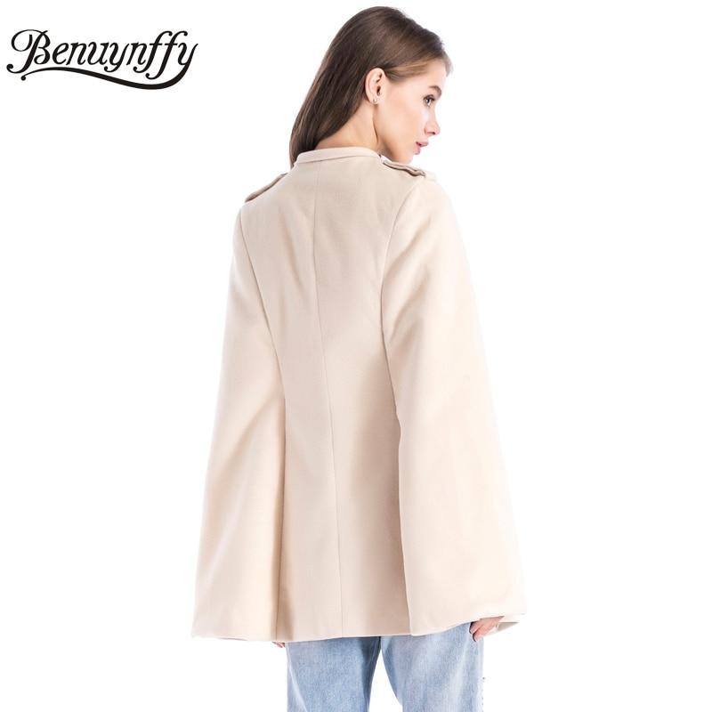 Benuynffy, зимнее пальто, длинное, женское, элегантное, накидка, пальто для девушек, Новое поступление, абрикосовое, шерстяное, на молнии, повседневная верхняя одежда, женские пальто, W501
