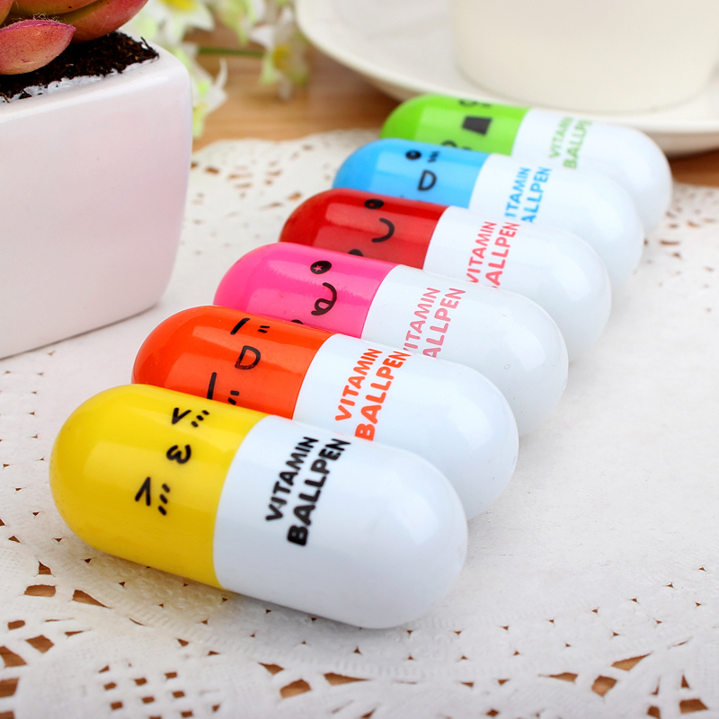 Free fast Shipping 400pcs/lot DHL Cute Smiling Face retractable Pill Ball Point Pen Vitamin Capsule Ballpen for Student gift