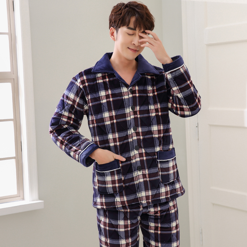 ba8941daf2 Three layer thick winter quilted pajamas nightshirt coral velvet pijamas  hombre inverno mens plaid male jacket plus size suit3XL-in Men s Pajama  Sets from ...
