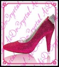 Aidocrystal New arrival Women Fuchsia Wedding pumps platform crystal bridal shoes bowknot decorated heels