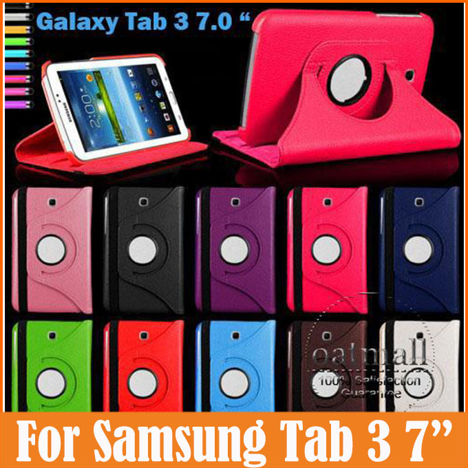 360 Degree Rotating PU Leather Flip Cover For Samsung Galaxy Tab 3 7.0 Case P3200 P3210 7 inch Tablet Stand Folding Folio Case 360 degree rotating flip folio swivel stand smart case cover for samsung galaxy tab a 9 7 inch sm t550 tablet screen protector