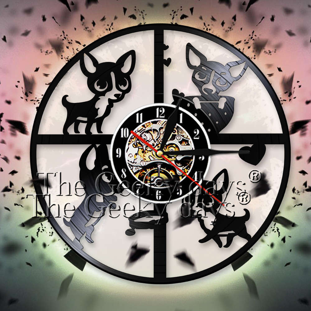 Us 16 91 11 Off Chihuahua Wall Clock Lovely Dog Puppy Animal Vinyl Record Watches Nursery Art Decor For Children S Room In